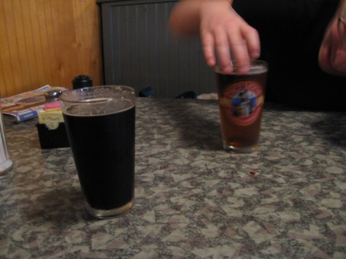 Highland Oatmeal Stout and a PBR.