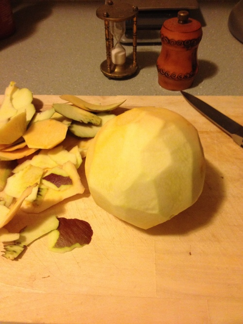 peel the rutabaga with a pairing knife until you have a glowing white orb before you.